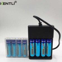 Li-bateria de Polímero Lítio plus 4 Kentli 8 PCS 1.5 V 3000mwh AA Recarregável de Li-ion Bateria Polímero Slots USB Inteligente Carregador
