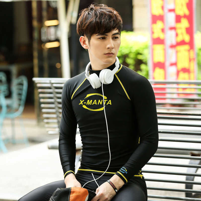 Long Sleeve UPF 50+ Rash Guards For Men Body Suits Snorkeling Diving Jacket Skin Anti-UV Wear Surfing Sports Clothes Wetsuit
