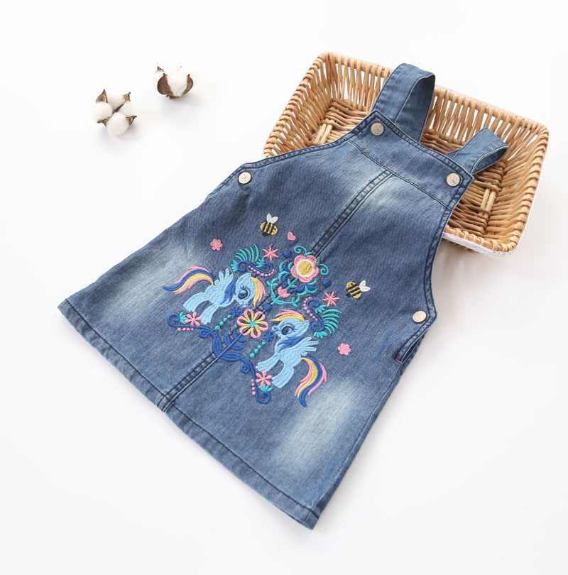 Girls Spring Summer Denim Sundress Baby Girls Cartoon-embroidery Sundress Kids Suspender Denim Dresses Child Casual Dress 2017 new arrival baby girls denim sundress girls fashion sundress kids suspender denim dress child casual sundress