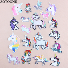 ZOTOONE 16 Style Cute Unicorn Patch Jeans Embroidery Patches for Kids Clothes T-shirt Applique Iron on Sequin Stickers D1