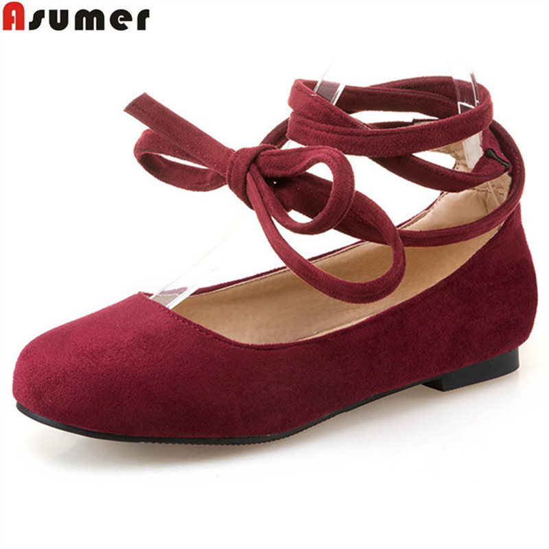 Asumer 2017 spring autumn new arrive women flats fashion flock lace up flats shoes round toe simple comfortable college style