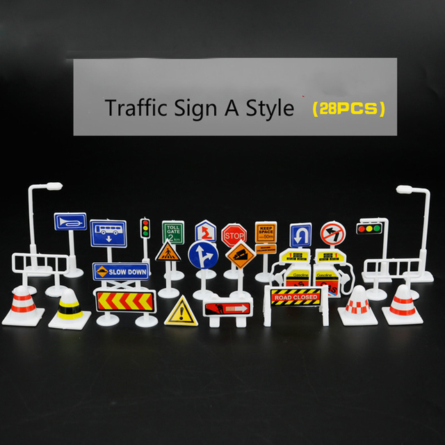 feichao Children DIY Model Scene Toy Sign Road Street Roadblock Traffic Sign Kids Funny Simulation Toys Gift Early Education