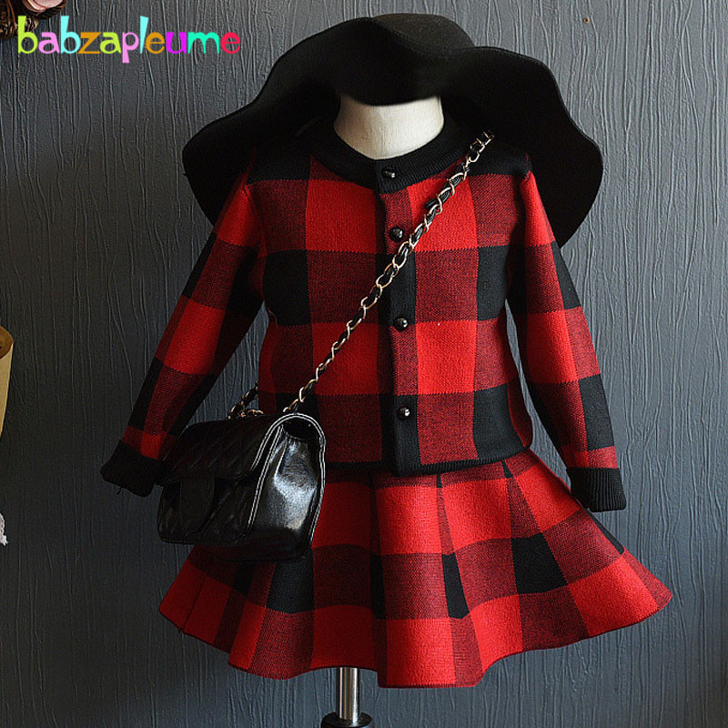 spring autumn baby girls outfit fashion kids clothing sets plaid Cardigan sweater coat+skirt korean children clothes suit BC1029 school girls brand cardigan clothes sets knitted sweater wave skirt 2pcs winter autumn warm children clothing kids outfits w75