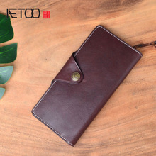 AETOO Long casual solid color retro men and women money long bag vegetable tanned leather new ultra-thin fashion two fold aetoo new original male bag leather shoulder bag retro vegetable tanned leather pure hand rub color backpack
