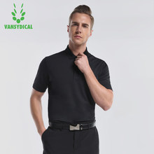 Vansydical Mens Golf Shirts Short Sleeve Tennis Shirts Breathable Glof Training Golf Polo Summer Breathable Short Sleeved Shirt(China)