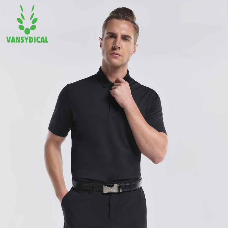 Vansydical Mens Golf Shirts Short Sleeve Tennis Shirts Breathable Glof Training Golf Polo Summer Breathable Short Sleeved Shirt