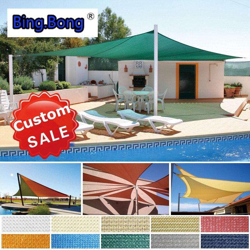 Sun Shade Sail Custom HDPE Shade Cloth Sun Shading Net Outdoor Awning Toldo  Garden Canopy Gazebo