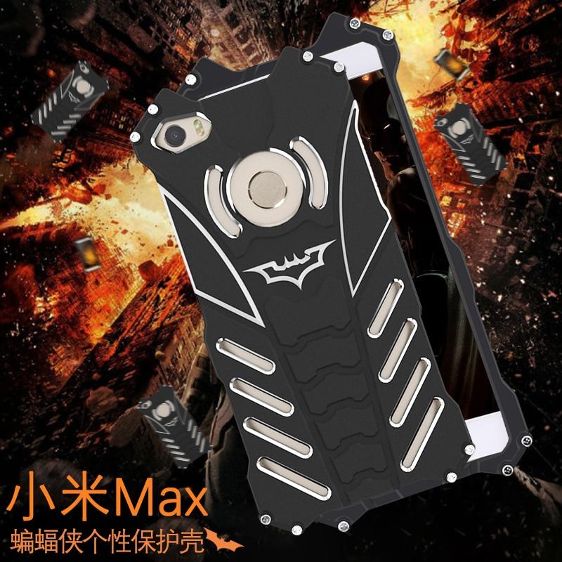 imágenes para R-just batman case xiaomi mi max armadura a prueba de golpes de metal cnc anodizado de aluminio cáscara protectora del teléfono case para xiaomi max