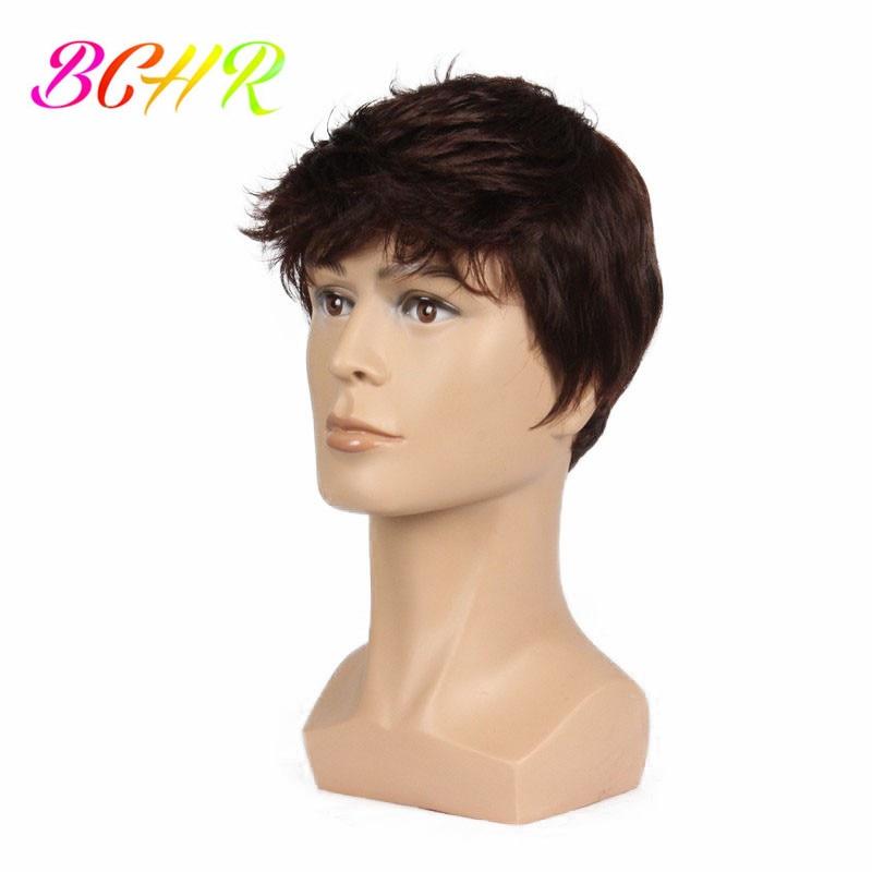 BCHR 6 tums kort sträcka full syntetisk peruk för män manlig hår - Syntetiskt hår - Foto 1