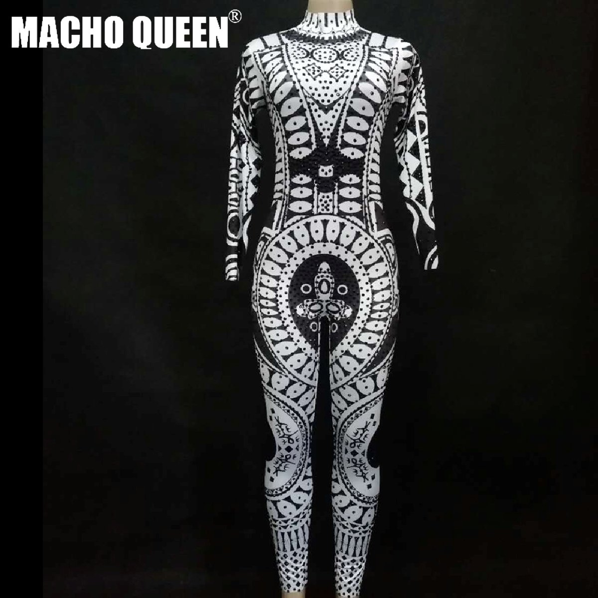 Drag Queen Costumes Sexy Tattoo Rhinestone Bodysuit Crystal Jumpsuit  Carnival Runway Performance Party Celebrity Clothing a1b3a137c
