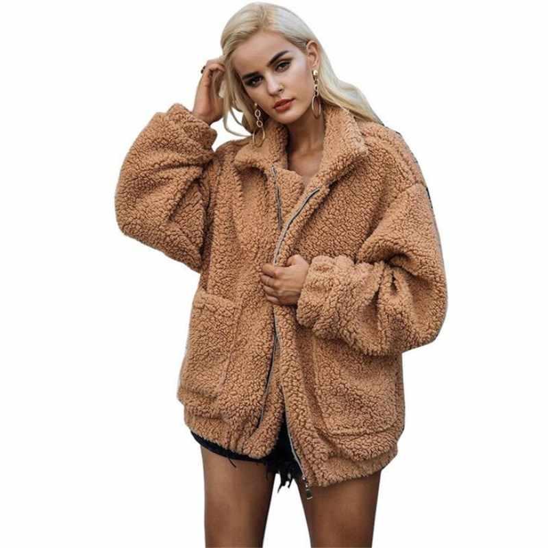 Элегантный костюм из искусственного меха пальто Для женщин 2018 осень-зима теплый мягкий молния Меховая куртка Женская Плюшевые пальто Повседневное верхняя одежда