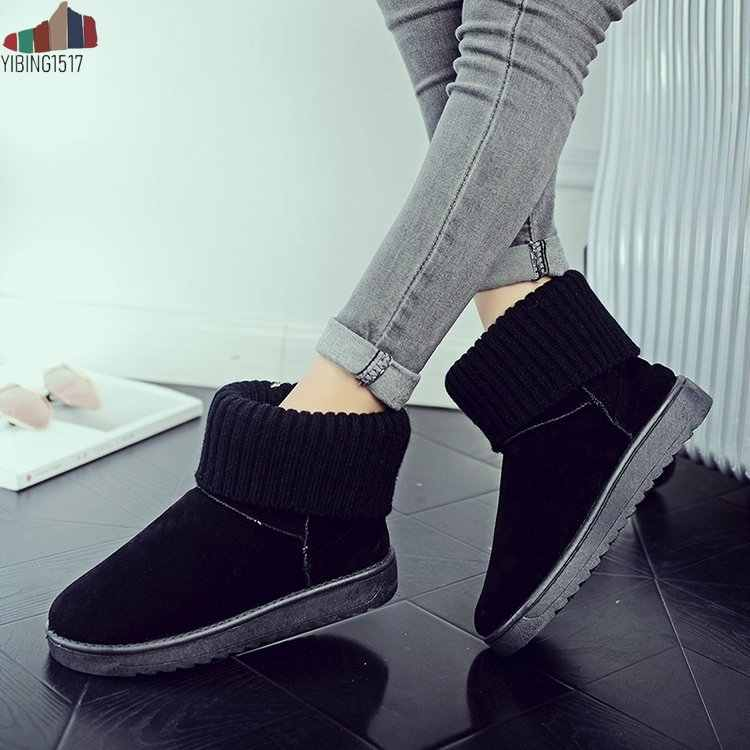 YIBING gerçek koyun derisi deri süet kış kar botları kadınlar için koyun yünü kürk astarlı kış ayakkabı siyah kahverengi 34- 44 yüksek kalite