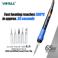 YIHUA 928D ESD Thermostatic Soldering Iron With Button Temperature Adjustable Digital Soldering Iron 220V 110V For