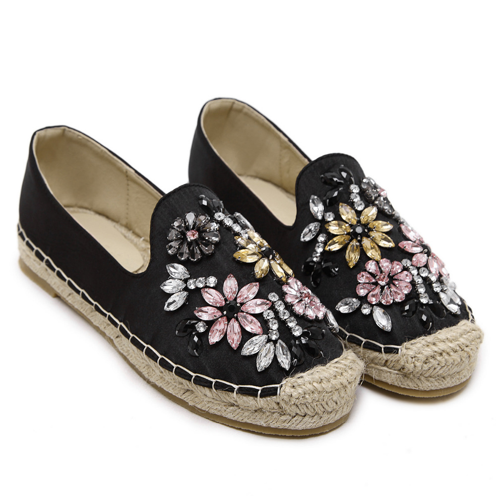 51c49c0499ff0 LALA IKAI Women Espadrille with Rhinestone Crystal Flat straw shoes Brand  Design Loafers for lady Holiday Tropical Style XWA0575-in Women s Flats  from Shoes ...