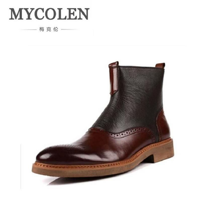 MYCOLEN Ankle Boots Men Leather Slip On Front Men Shoes Vintage Brogues Print Winter Shoes Men High Top Zipper Black Boots letter print knot front top