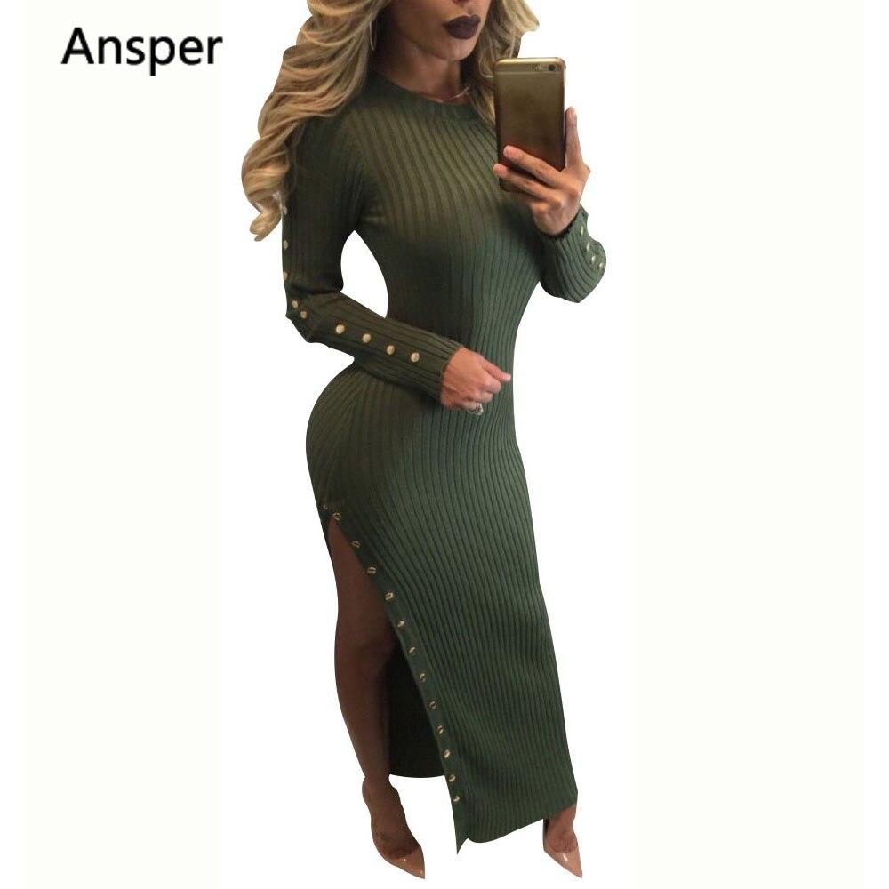 2018 Autumn Dress Knitted noodle Dresses ankle Length Long Sleeve Long Dresses Slim Winter Office Dress Robes longo Vestidos