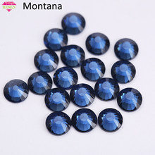 RESEN Top Grade AAA SS3-SS34 Montana Color Non Hot-Fix Rhinestone Glass Round Flat Back Rhinestones Crystal Montana Flat back(China)