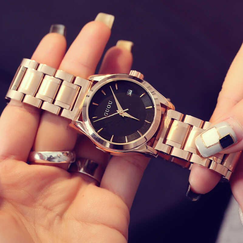 GUOU נשים של שעונים 2019 עסקי גבירותיי שעון עלה זהב צמיד שעון נשים נירוסטה אוטומטי תאריך שעון relogio feminino