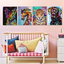 Multicolor Animals Oil Painting Canvas Print Cute Dog Cat Tiger Horse Wall Art Picture for Kids Room Home Decor Poster