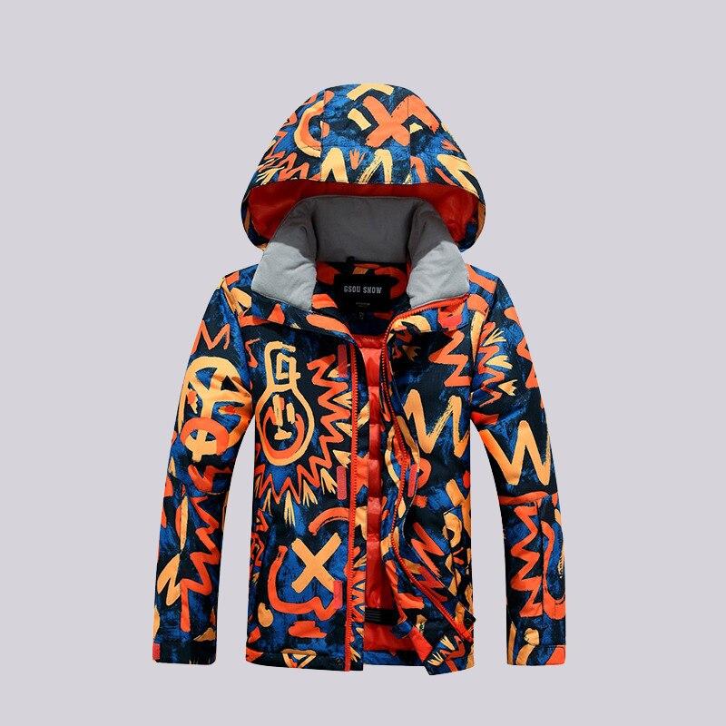 все цены на GSOU SNOW Double Single Board Children's Ski Suit Outdoor Windproof Waterproof Warm Ski Jacket Snow Coat For Boys Size XS-M онлайн