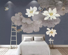 цена на beibehang Custom wallpaper photo blue pastel color lotus living room sofa TV background wall murals home decoration 3d wallpaper