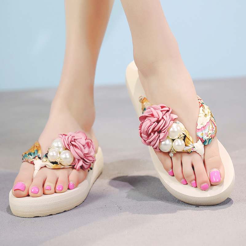 cd4715530c32 Flip Flops Summer Bohemia Slippers New Fashion Clip Toes Flower Womens  Wedge Sandals Casual Beach Slippers