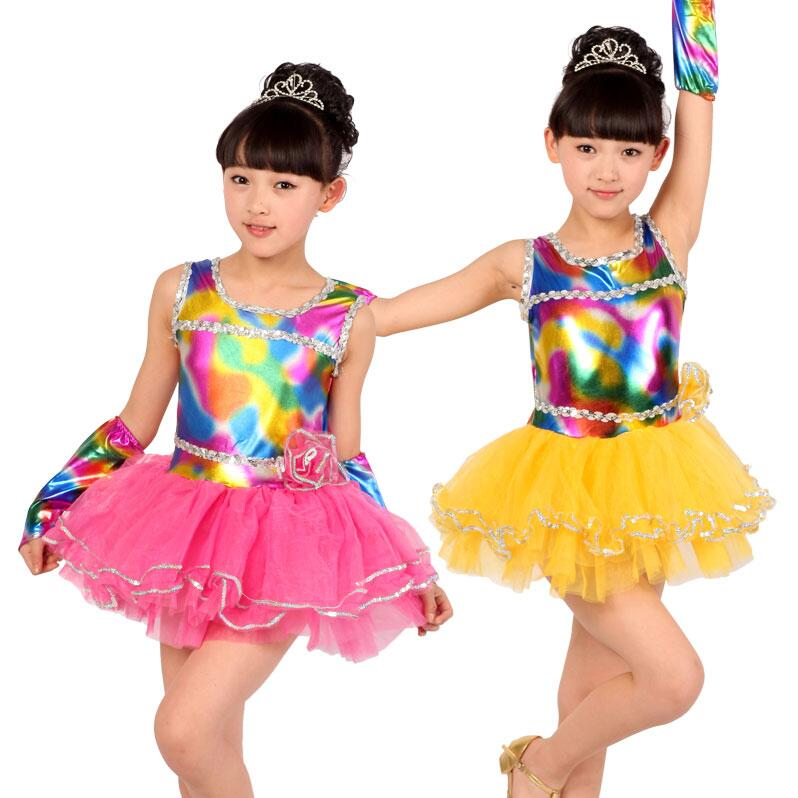 2019 Hot Pink Yellow Child Kids Girl Cheap Ballroom Tango Salsa Samba Rumba Dance Costumes Rainbow Latin Dance Dresses