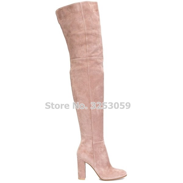 ALMUDENA Real Photo Celebrity Elegant Pink Beige Suece Chunky Heel Long Boots Exquisite Over-the-knee Banquet Shoes Women ShoesALMUDENA Real Photo Celebrity Elegant Pink Beige Suece Chunky Heel Long Boots Exquisite Over-the-knee Banquet Shoes Women Shoes