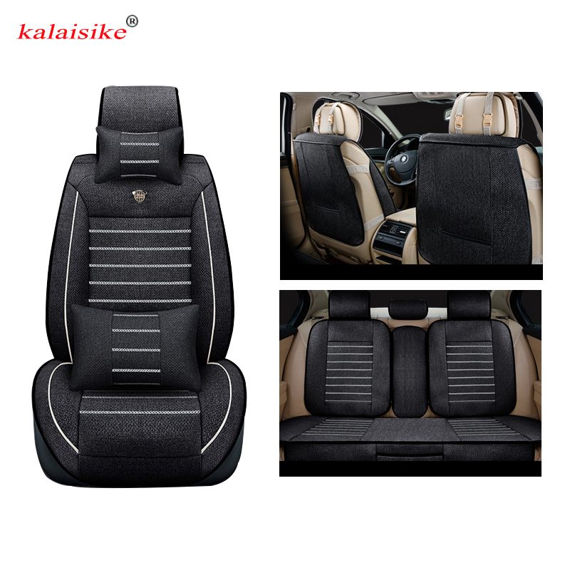 Kalaisike Linen Universal Car Seat covers for Jeep all models Grand Cherokee renegade compass Commander Cherokee car accessories universal pu leather car seat covers for toyota corolla camry rav4 auris prius yalis avensis suv auto accessories car sticks