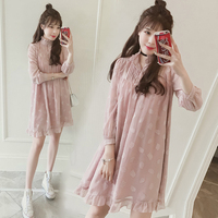 Spring New Large Size Women S Dress Covered Belly Blouse Chiffon A Word Dress Spring And