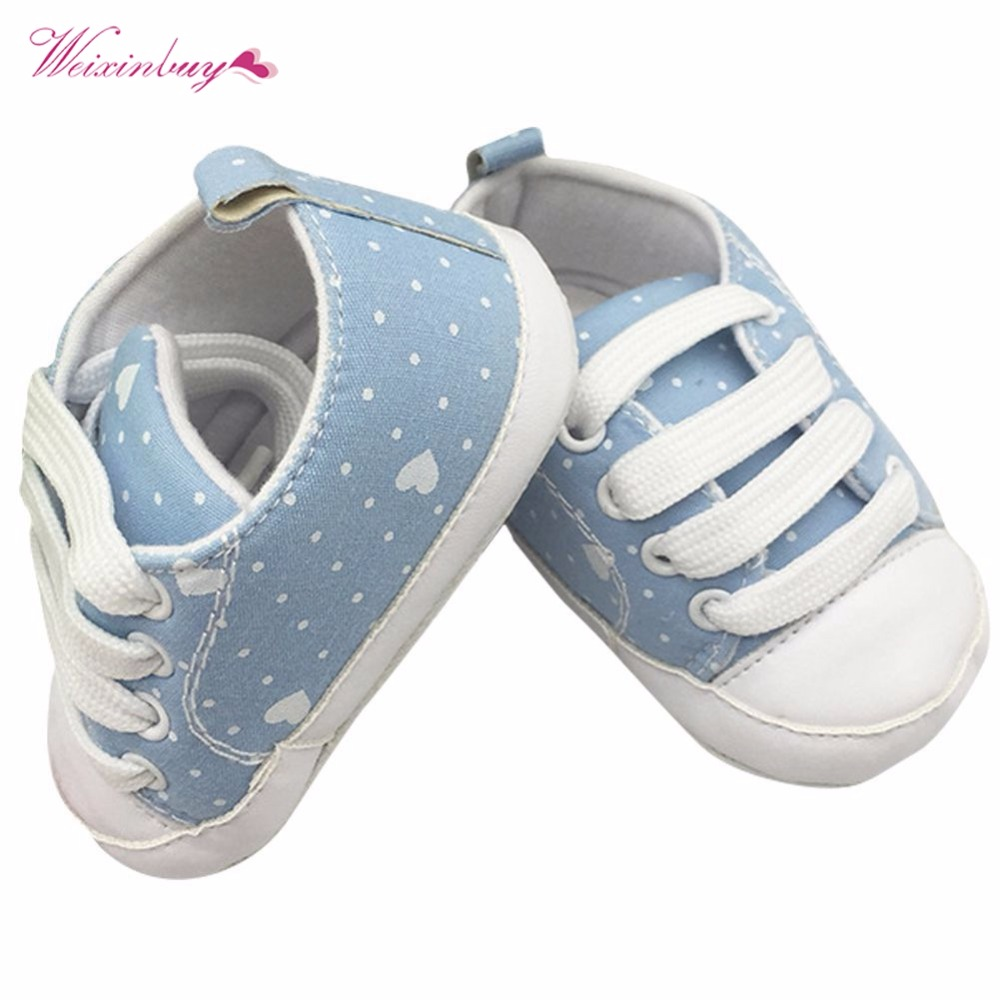 Infant Canvas Shoes Toddler Newborn Baby Girl Boy Sports Sneakers Soft Bottom Anti-slip T-tied First Walkers Prewalker