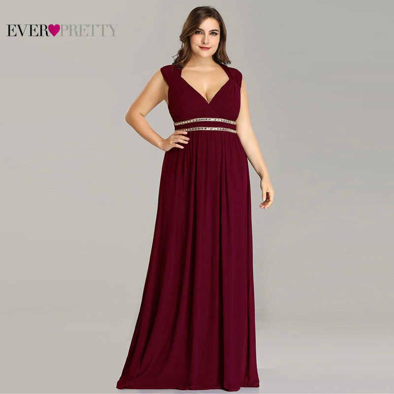 a9744af591992d2 Когда-либо довольно плюс Размеры Длинные вечерние платья Для женщин  Элегантный бордовый V шеи шифон