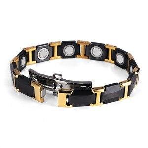 Image 2 - Rainso黒セラミックタングステン鋼磁気健康ケアリンクブレスレットと女性のためのゴールドカラーORB 216 01BKG 2020