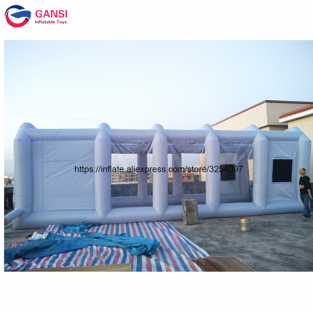 High quality inflatable paint booth 10*5*3.5m gray portable auto paint booth cheap inflatable spray booth with 2 air blowers