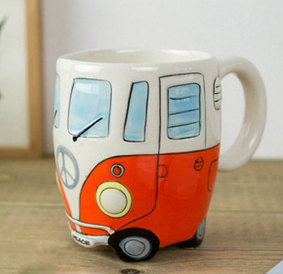 Cartoon Double Bus Mugs Hand Painting Retro Ceramic Cup Coffee Milk Tea Mug Drinkware Novetly Gifts 1pc