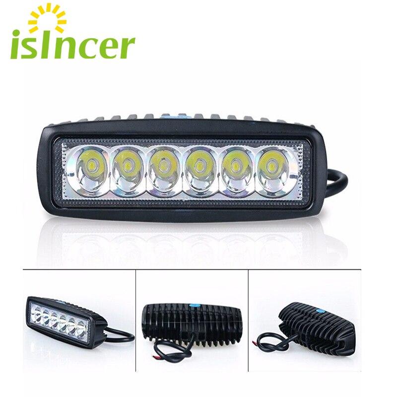2 pz di Inondazione Spotlight 12 V 18 W Auto LED Work Light Bar LED Lampada Lavoro luce Guida Luce Corrente di Nebbia Fuori Strada SUV 4WD Barca trattore