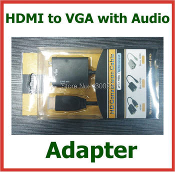 10pcs HDMI to VGA with Audio Cable 1080p HDMI to VGA Converter Male to Female Adapter for PC Monitor Projector TV