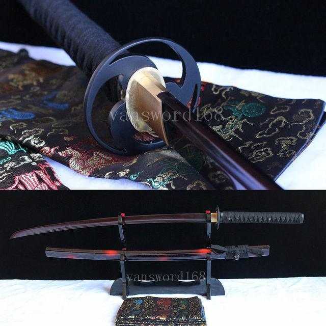 Hand forged&folded red damascus steel blade japanese samurai katana real sword.