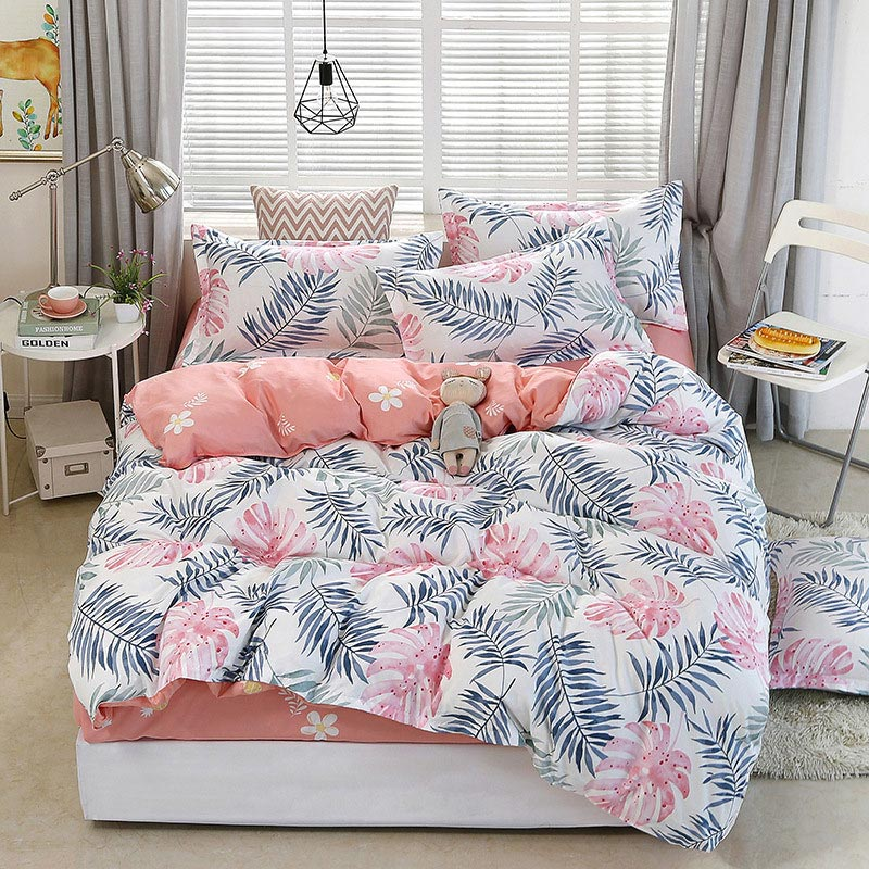 Bed-Cover-Set Pillowcases Comforter Tropical-Plant 4pcs Child Adult Kid And 2TJ-61006