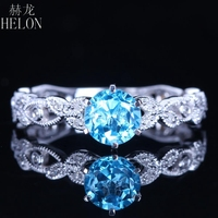 HELON 6.5mm Round Blue Topaz Ring Solid 14k White Gold Gemstone Ring Natural Diamond Engagement Ring Unique Vintage Fine Jewelry