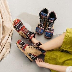 Image 4 - Veowalk Botines de lino y algodón con bordado Harajuku para mujer, alpargatas planas cómodas con cordones, estilo vegano