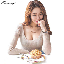Autumn outfit new tight long-sleeved T-shirt female necklines sexy low-cut top big yards of cultivate ones morality show thin c