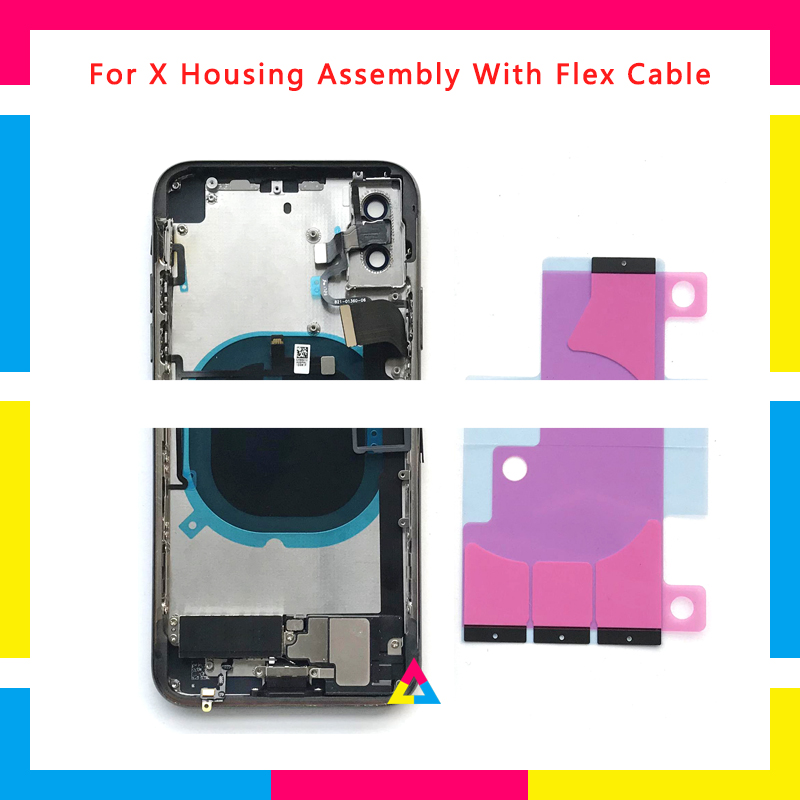 2Pcs High Quality Full Back cover Housing Assembly Battery Cover Chassis Frame with Flex Cable For