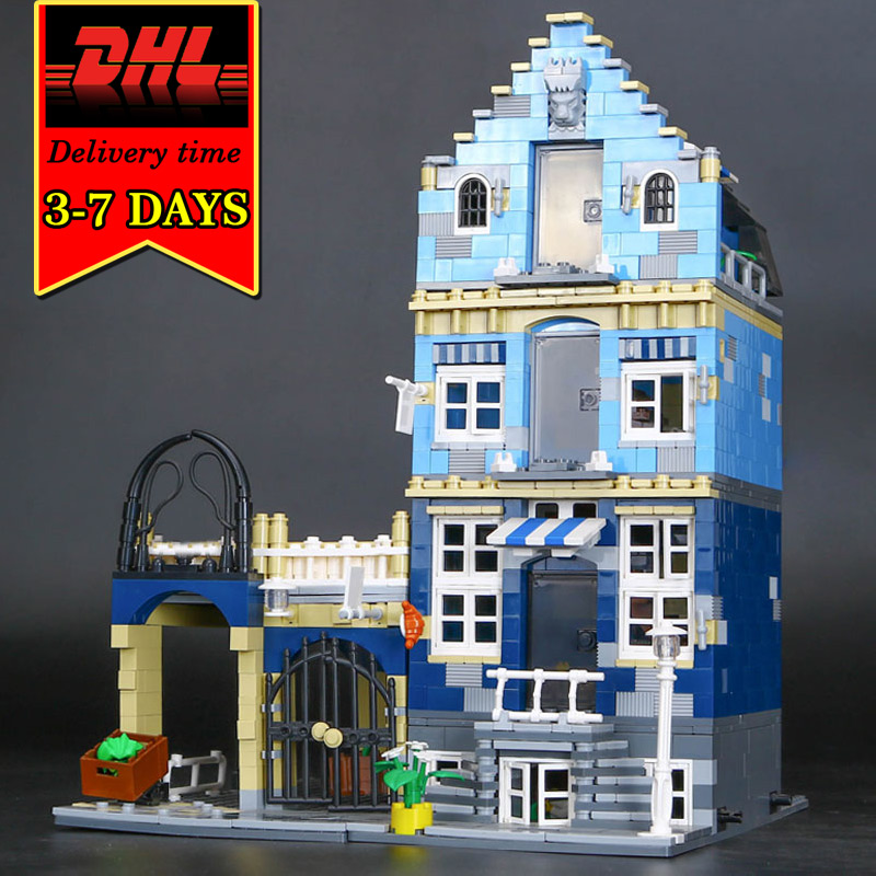 DHL LEPIN 15007 European City Street Market Model Building Blocks Set Compatible Bricks Kit Educational Kids Toys Children Gift lepin 02012 city deepwater exploration vessel 60095 building blocks policeman toys children compatible with lego gift kid sets