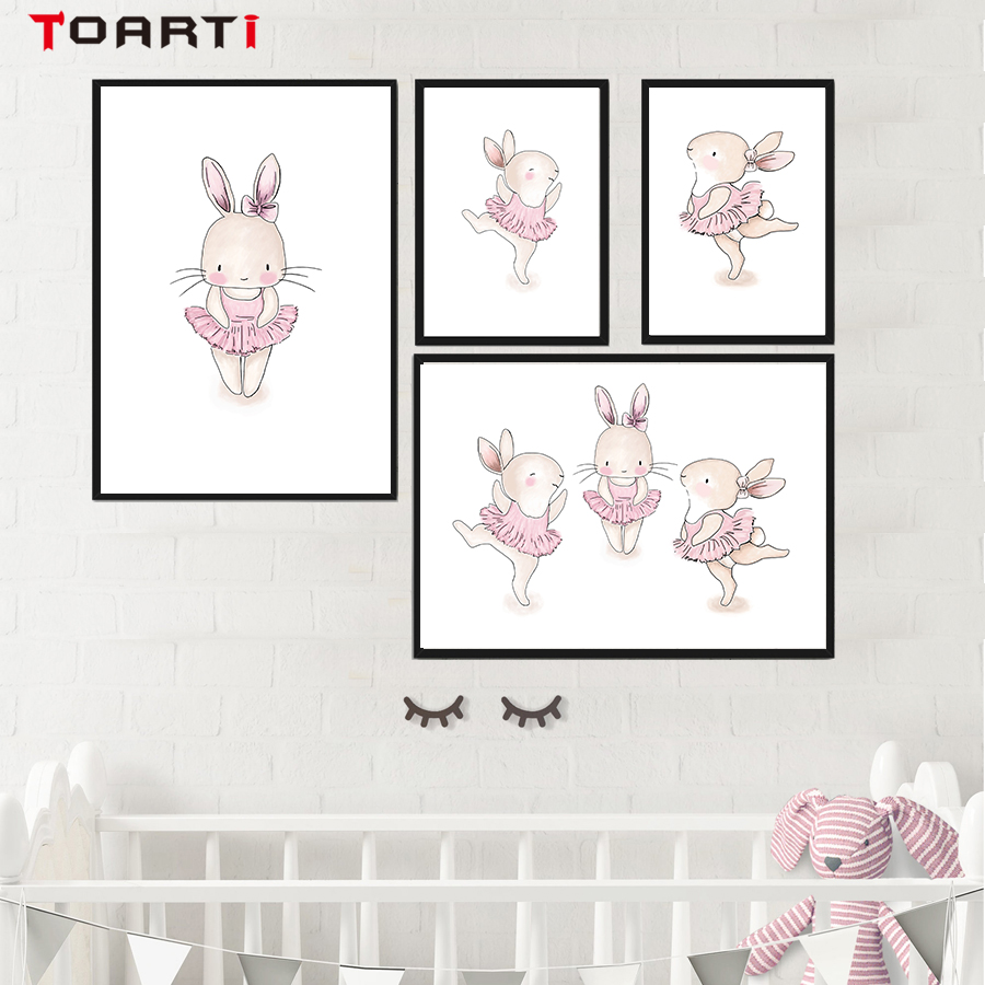 Posters And Prints Cute Pink Rabbit Ballet Decoration Living Room Modular Pictures Canvas Painting Wall Art Baby Girl Room Decor