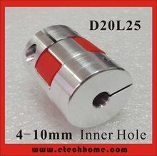 Frete grátis! D20xL25 Motor Jaw Eixo Acoplador 5x8 6.35x8 Garra-tipo Acoplamento Flexível furo Interno 4-10mm para CNC
