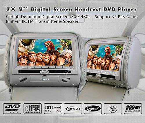 "9""Inch 2pcs/lot Universal Digital TFT Screen zipper Car Headrest DVD Player Monitor USB FM Game Disc Remote with 2 X IR Headsets"