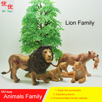 Hot toys: 4 Lions, Lioness & Baby Lion family pack Simulation model Animals kids toys children Action Figures
