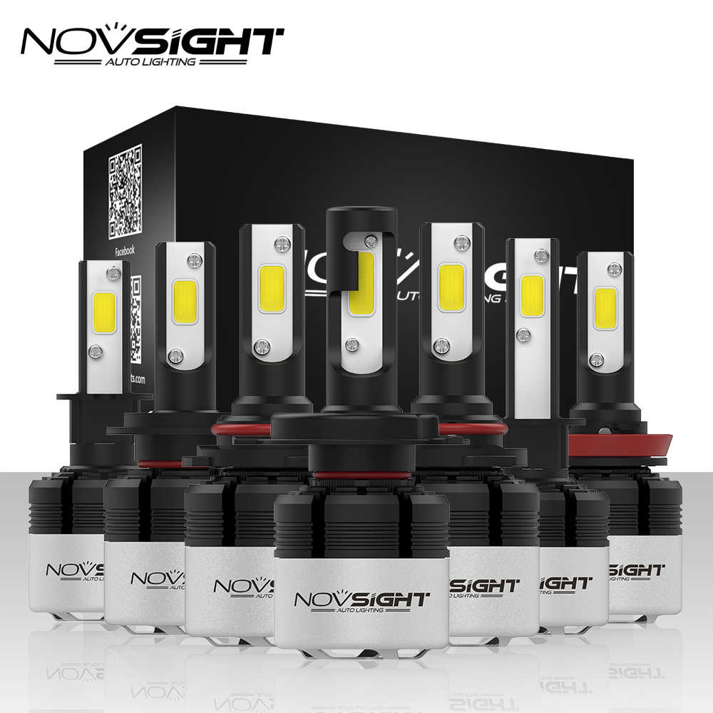 NOVSIGHT H4 Led H7 H11 H1 9005 9006 H3 H8 H9 COB LED Headlight 72W 9000LM Car LED Headlamp Bulb Fog Light 6500K 12V Car Styling