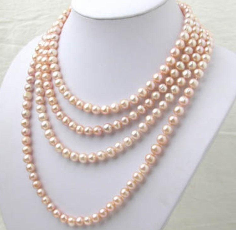 Hot selling free shipping********AAA 7-8MM pink Akoya pearl long necklace 100 inch K730Hot selling free shipping********AAA 7-8MM pink Akoya pearl long necklace 100 inch K730